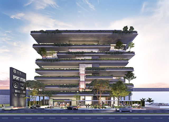 Fachada frontal en AVA Urban Oasis en Cancún